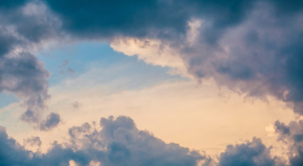 Colorful dramatic sky. Weather or religious texture background.