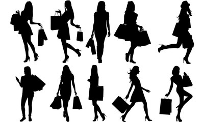 Woman Shopping Silhouette |Woman with Bags Vector | Holiday Sale Discount  | Clipart Clip art Logo