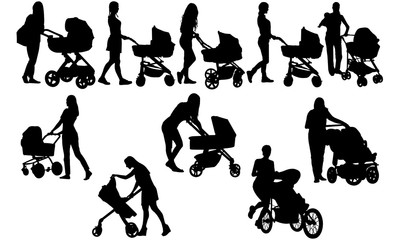 Woman with Stroller Silhouette | Mother with Buggy Vector | Babysitter with Carriage | Clipart Clip art Logo