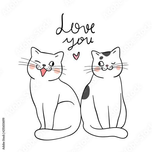 Draw Couple Of Cat And Word Love You Doodle Style Stock Image And