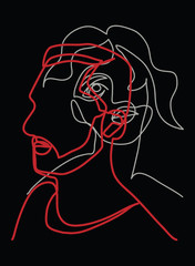 Continuous line, drawing of two heads, Two faces,  mans and woman, ligt grey and red on black , minimalist ,vector