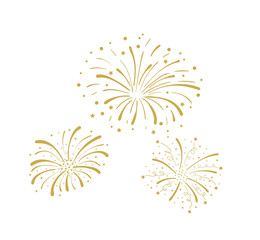 Vector Golden Doodle Fireworks Isolated, Celebration, Party Icon, Anniversary, New Year Eve.