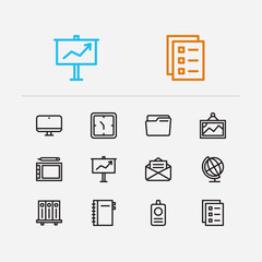 Work icons set. Library and work icons with clock, computer and globe. Set of drawing for web app logo UI design.
