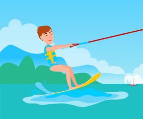 Kitesurfing and Happy Boy Vector Kitesurfer on Ski