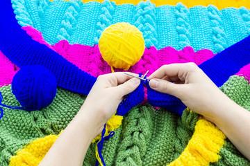 girl blanket knits knitting needles