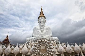 White Buddha Statues at Wat Prathat Phasornkaew in Phetchabun, Thailand