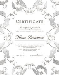 Certificate template, silver border. Editable design for Diploma, certificate of appreciation,certificate of achievement, certificate of completion,of excellence, of attendance template,award template