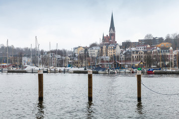 Flensburg town in winter, Germany