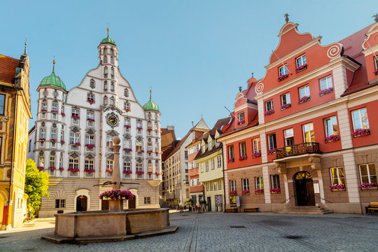 The Renaissance Hall in the historic centre of Memmingen, a town in Swabia, Bavaria, Germany.