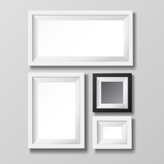 Gray and black blank picture frame template for image or text.
