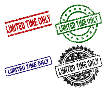 LIMITED TIME ONLY seal prints with corroded texture. Black, green,red,blue vector rubber prints of LIMITED TIME ONLY title with corroded style. Rubber seals with round, rectangle, rosette shapes.