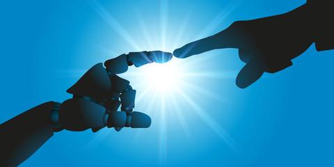 robot - cerveau - intelligence artificielle - cyborg, connexion - symbole - création - main