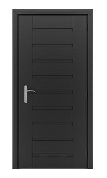 black door isolated on white background