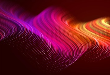 Abstract colorful digital landscape with flowing particles. Cyber or technology background. Red, pink, orange colors.