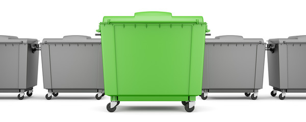 green garbage container among gray containers isolated on white background