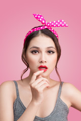Beautiful woman pinup style portrait. Asian woman.