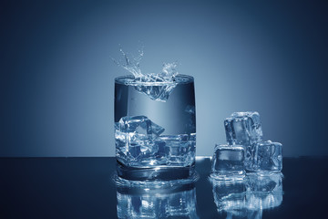 fresh water splash  and ice in the glass