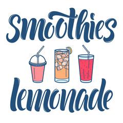 Smoothies and lemonade lettering and line art glasses for bar menu design.