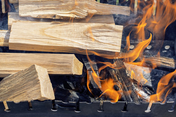 Wood logs burning in the grill