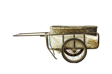 Rickshaw isolated on white background.