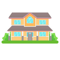 Modern cottage house isolated on white background. Front view.  Vector Illustration in Flat Style