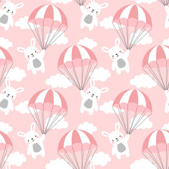 Seamless Rabbit Pattern Background, Happy cute bunny flying in the sky between colorful balloons and clouds, Cartoon Hare Bears Vector illustration for Kids