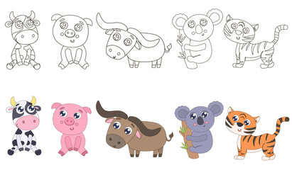 Animals for coloring vector illustration