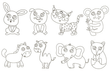 Cute outlined animals for coloring. Vector illustration.