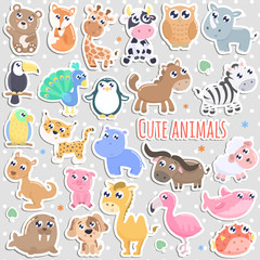 Set of cute cartoon animal stickers vector illustration. Flat design.