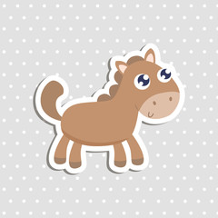 Cute little horse sticker vector illustration. Flat design.