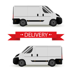 Car. Isolated on white background. Vector illustration of delivery. Flat style. Side view. Profile.