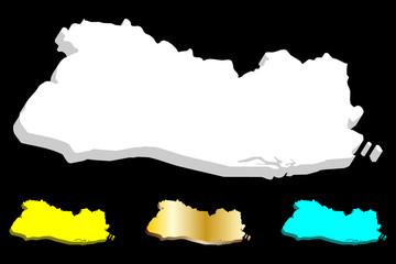 3D map of El Salvador (Republic of El Salvador) - white, yellow, blue and gold - vector illustration