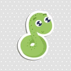 Cute cartoon snake sticker vector illustration.