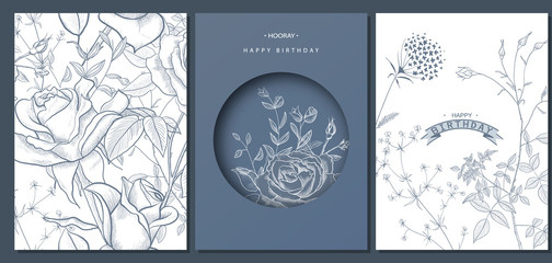 Happy birthday greeting cards with hand drawn flowers.Vector illustration. Trendy background. Modern set of abstract card, template,posters,invitation