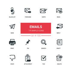 Emails - flat design style icons set