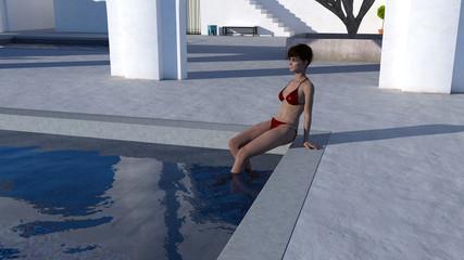 Illustration of a woman in a bikini poolside