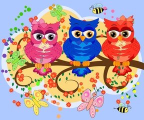 Three cute colorful cartoon owls sitting on tree branch with flowers. Funny sticker of birds on white background.