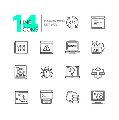Programming - modern thin line design icons set