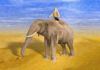 Painted Style Illustration of Desert Adventurer Riding Elephant on Sunny Day
