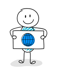 Smiley stickman holding board with globe icon. Vector.