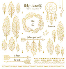 Set of boho style hand drawn elements in golden color. Boho design elements collection with ethnic feathers, arrows, dream catcher, wreath, borders and inspirational quotes