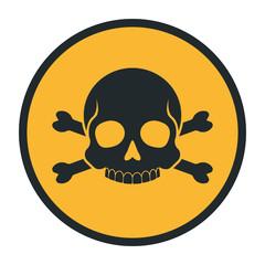 Death human skull silhouette danger sign crossbones warning icon vector illustration