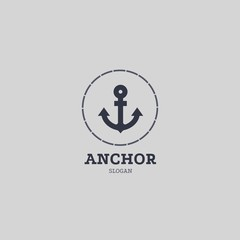 Marine round logo in hipster style with anchor and inscriptions. Anchor emblem with circular frame, simple logotype template
