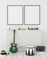 Mock up poster frame in children room interior background, 3D render
