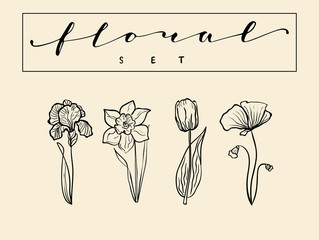 Set of hand drawn flower icons in line style. Vector illustration of flowers, such as narcissus, poppy, tulip and iris
