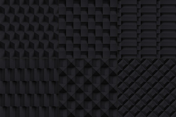 Volume realistic vector cubes textures set, black geometric pattern, design dark backgrounds for you projects