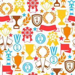 Awards and trophy seamless pattern.
