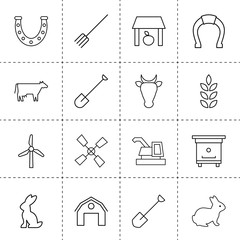 Set of 16 farm outline icons
