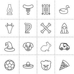 Set of 16 cartoon outline icons