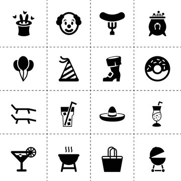 Set of 16 party filled icons